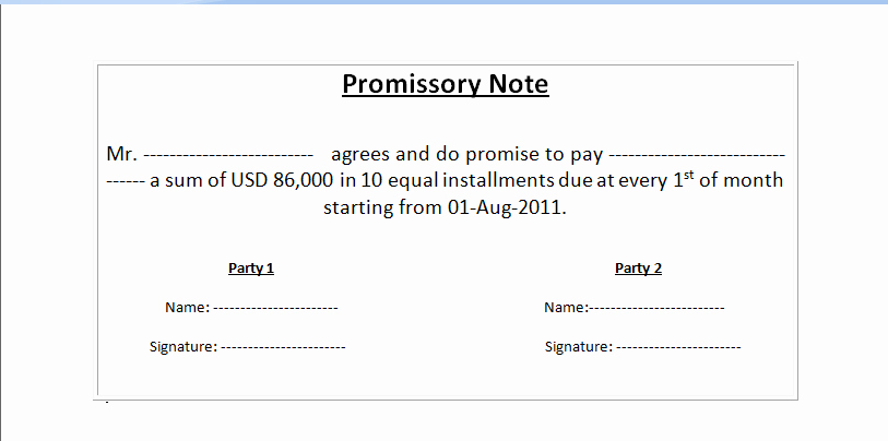 Simple Promissory Note No Interest Elegant Promissory Note Template format Example