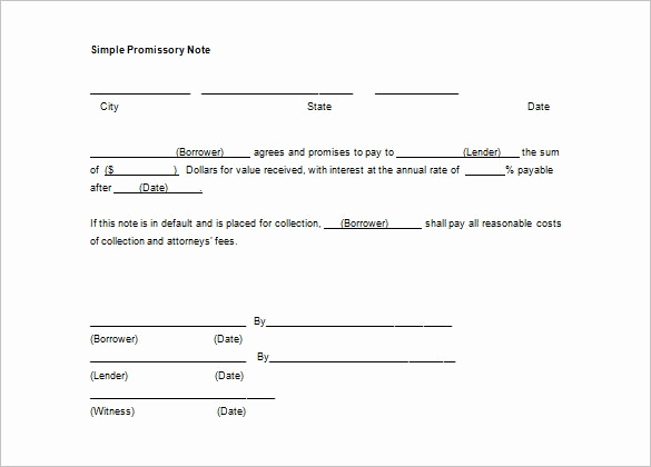 Simple Promissory Note Sample Awesome 14 Simple Promissory Note