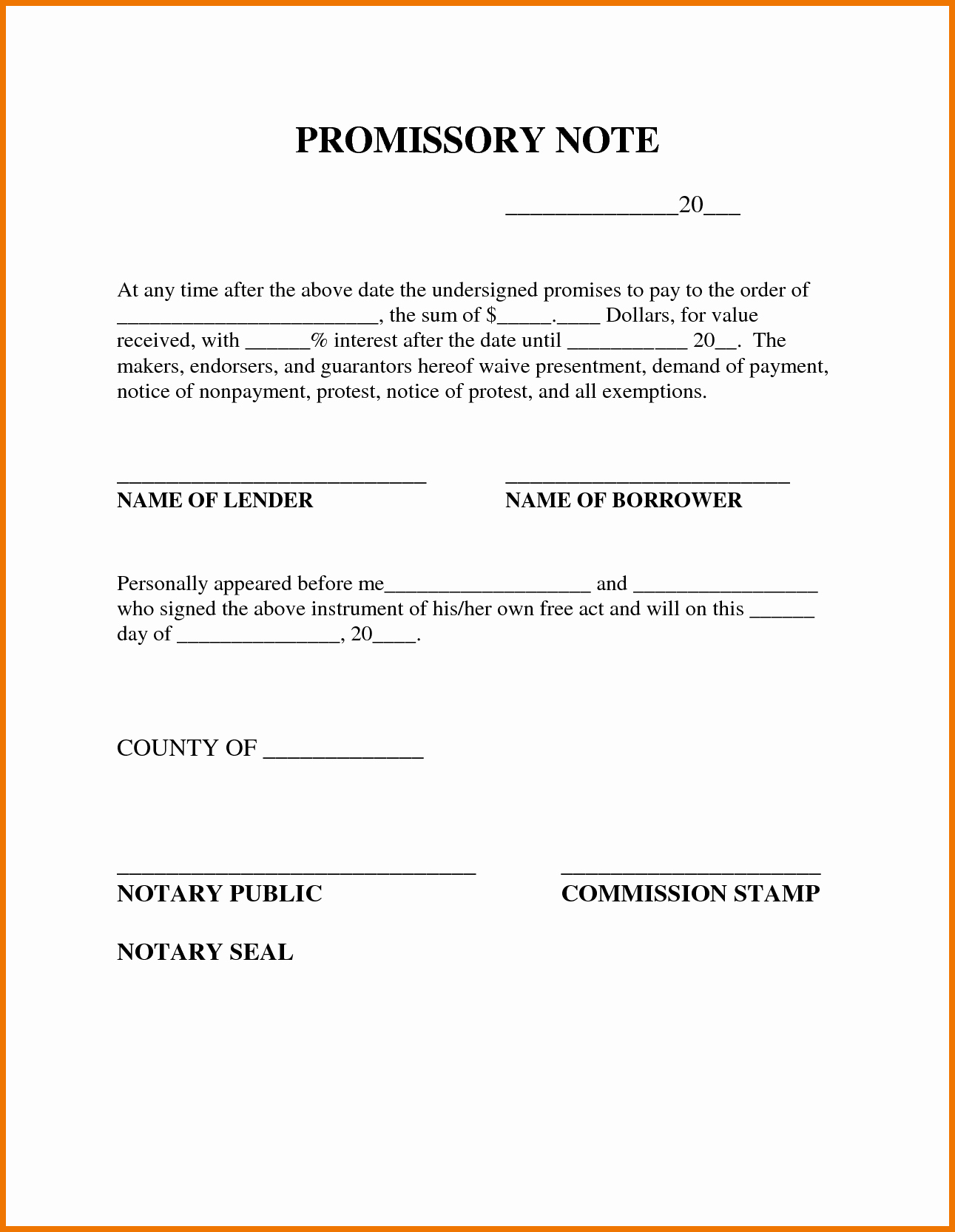Simple Promissory Note Sample Inspirational Promissory Note Template From Borrower to Lender Vatansun