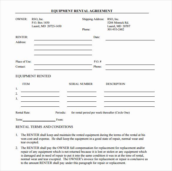 Simple Rental Agreement Pdf Beautiful Sample Equipment Rental Agreement Template 15 Free