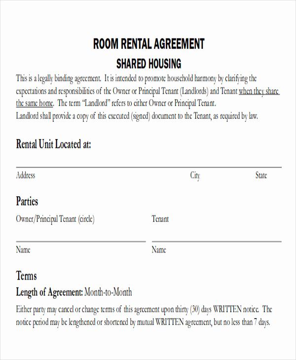 Simple Rental Agreement Pdf Luxury 8 Room Rental Agreement form Sample Examples In Word Pdf