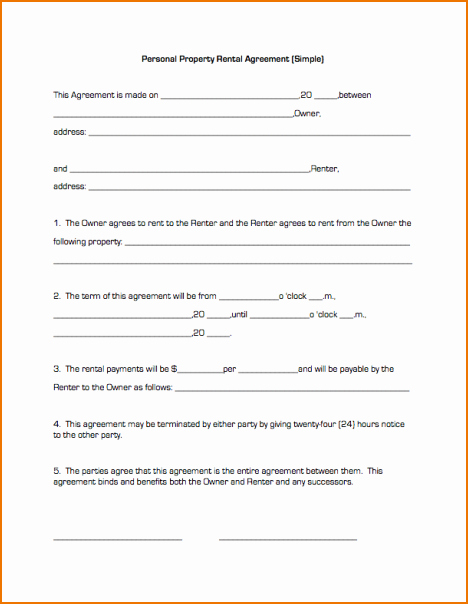 Simple Rental Agreement Pdf New Basic Lease Agreement