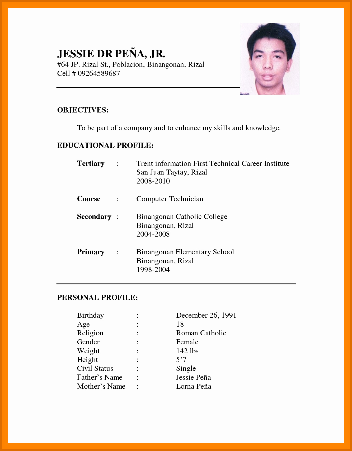 Simple Resume format Pdf Awesome 2 3 Simple Cv format for Job