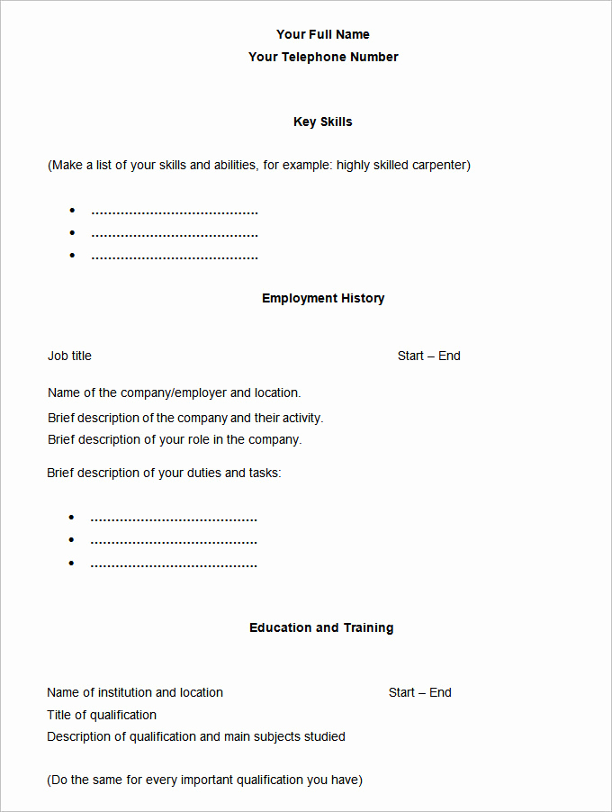 Simple Resume format Pdf Fresh 46 Blank Resume Templates Doc Pdf