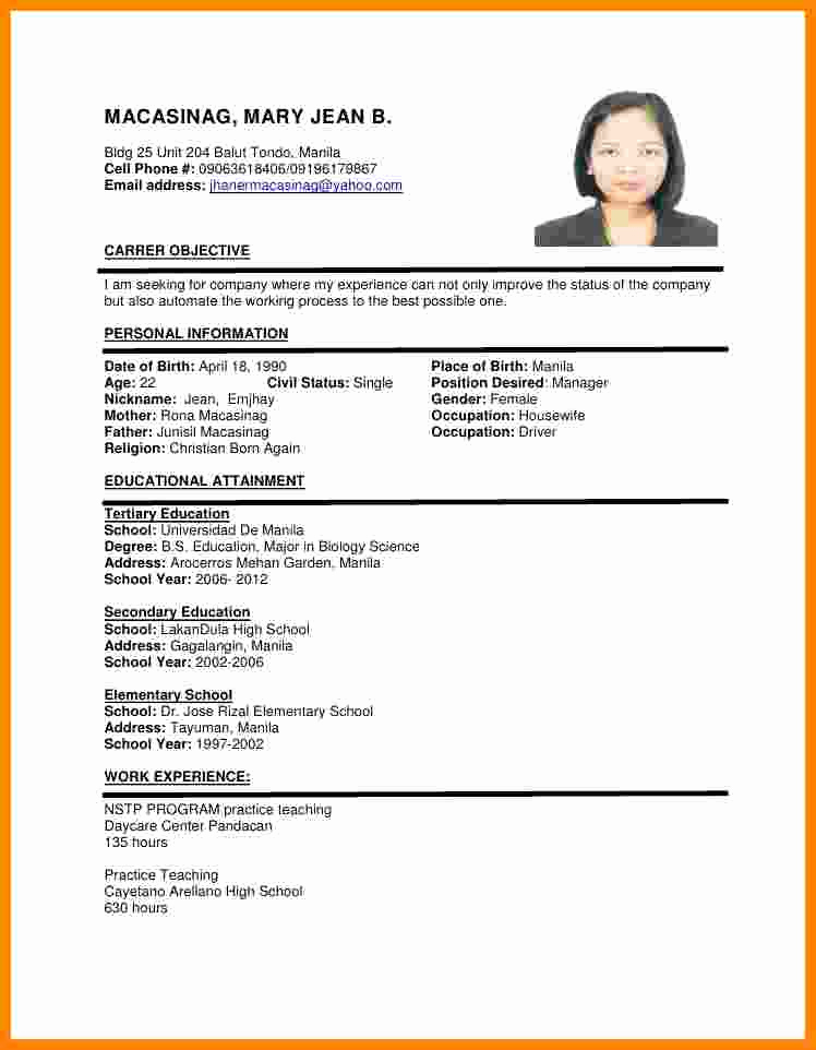 Simple Resume format Pdf Luxury 8 Cv format Sample