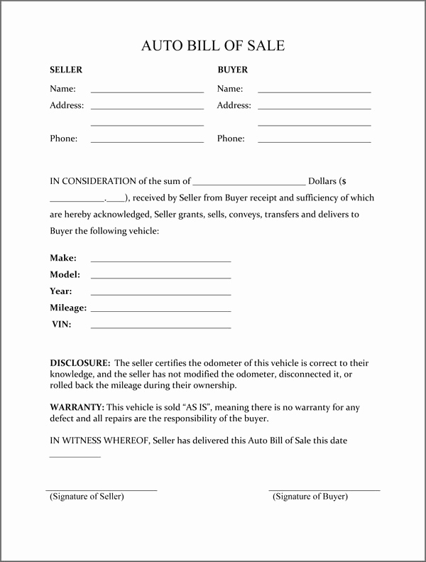 Simple Vehicle Bill Of Sale Fresh Bill Of Sale form Template