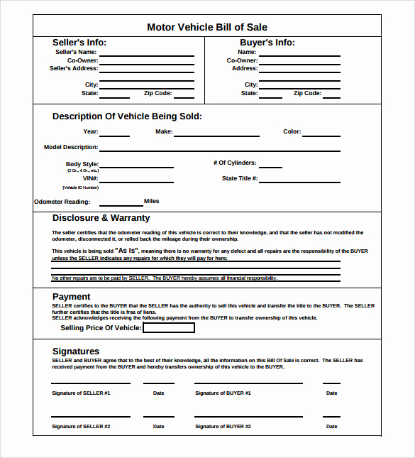 Simple Vehicle Bill Of Sale Luxury Car Bill Sale Templates 8 Download Free Documents In