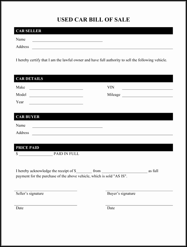 Simple Vehicle Bill Of Sale Unique Bill Of Sale form Template