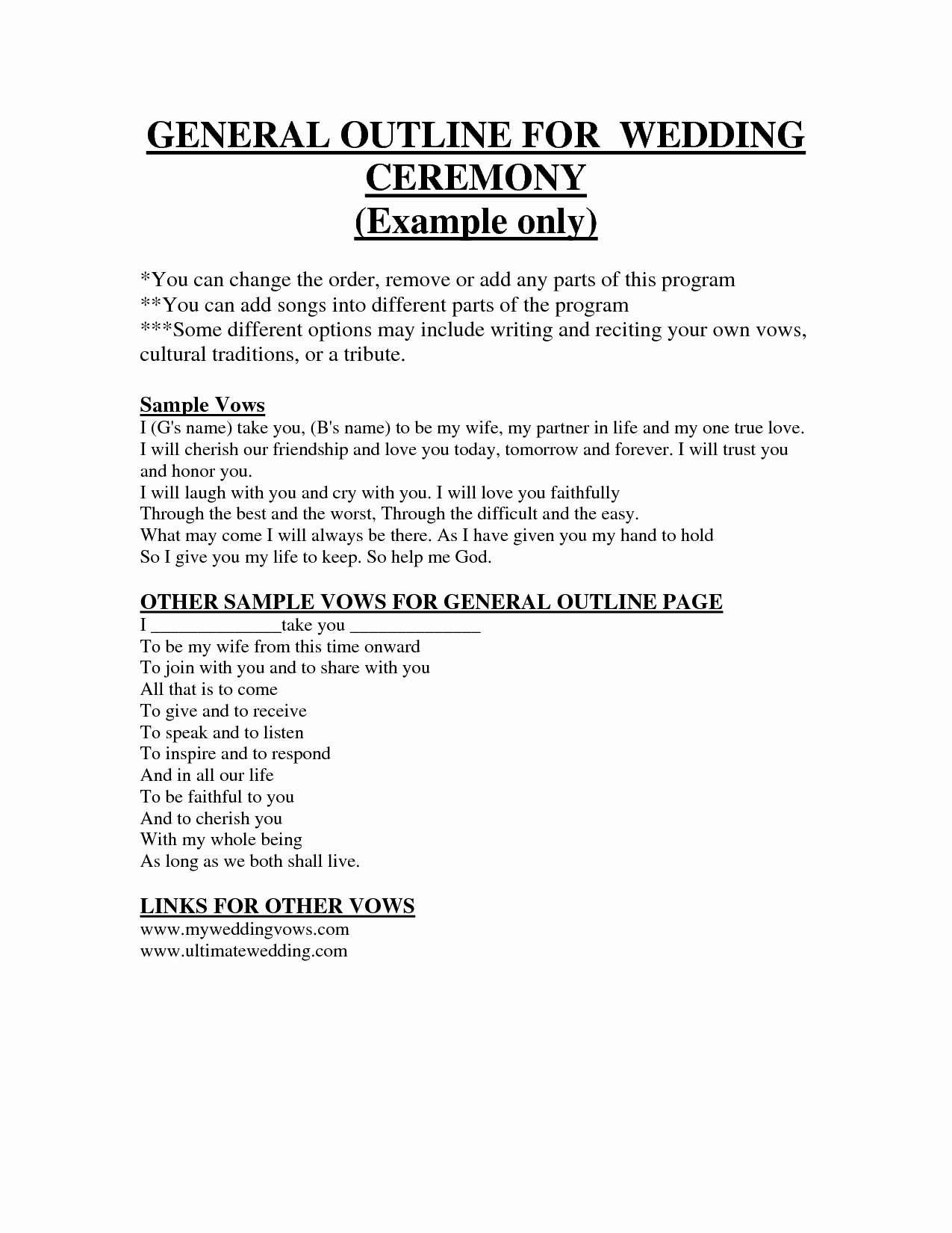 Simple Wedding Ceremony Outline Awesome 27 Of Wedding Ceremony Outline Template