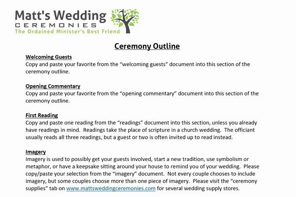 Simple Wedding Ceremony Outline Inspirational Ceremony Material Matt S Wedding Ceremonies