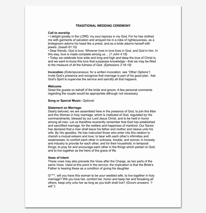 Simple Wedding Ceremony Outline Inspirational Wedding Outline Template 13 for Word and Pdf format
