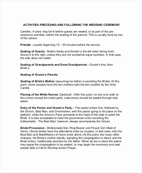 Simple Wedding Ceremony Outline Unique Wedding Outline Template 6 Free Word Pdf Document