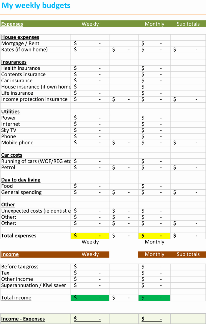 Simple Weekly Budget Template Luxury Weekly Bud Spreadsheet Bud Templates