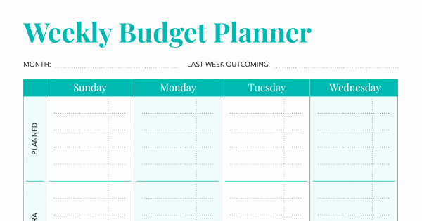Simple Weekly Budget Template Unique Free Printable Simple Weekly Bud Template Pdf Download