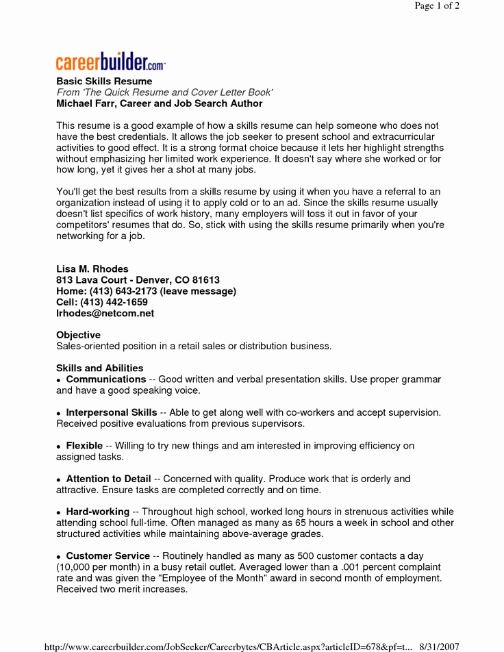 Skills Based Resume Template Free Inspirational 22 Best Images About Basic Resume On Pinterest