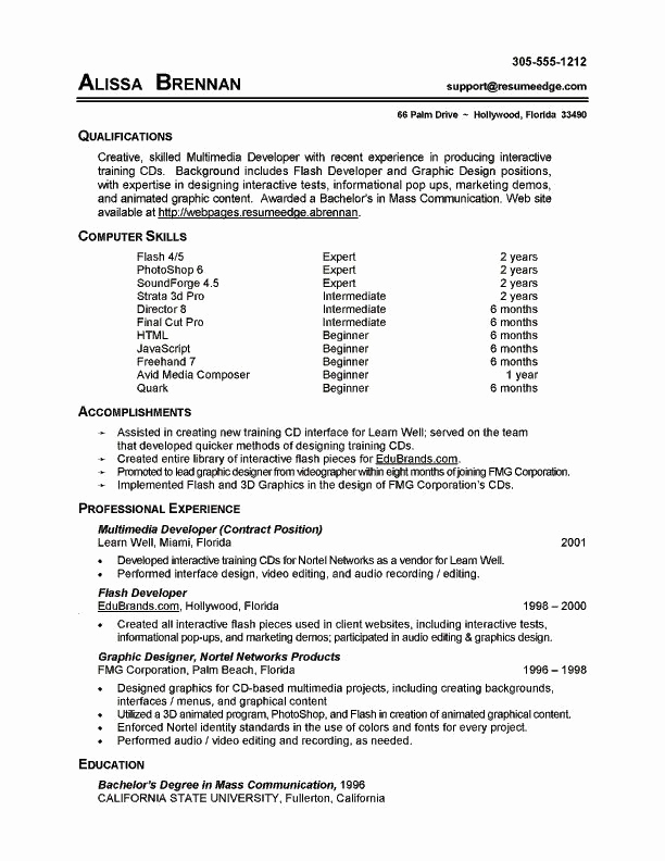 Skills Based Resume Template Free New 7 Resume Basic Puter Skills Examples