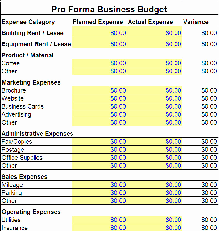 Small Business Budget Template Elegant Pro forma Business Bud Template