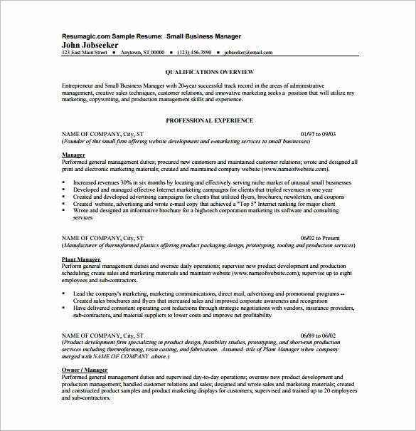 Small Business Owner Resume Elegant Business Resume Template – 11 Free Word Excel Pdf