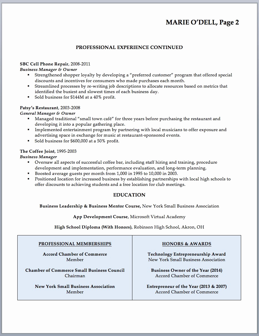 Small Business Owner Resume Inspirational Entrepreneur Resume Template – Entrepreneur Resume Samples