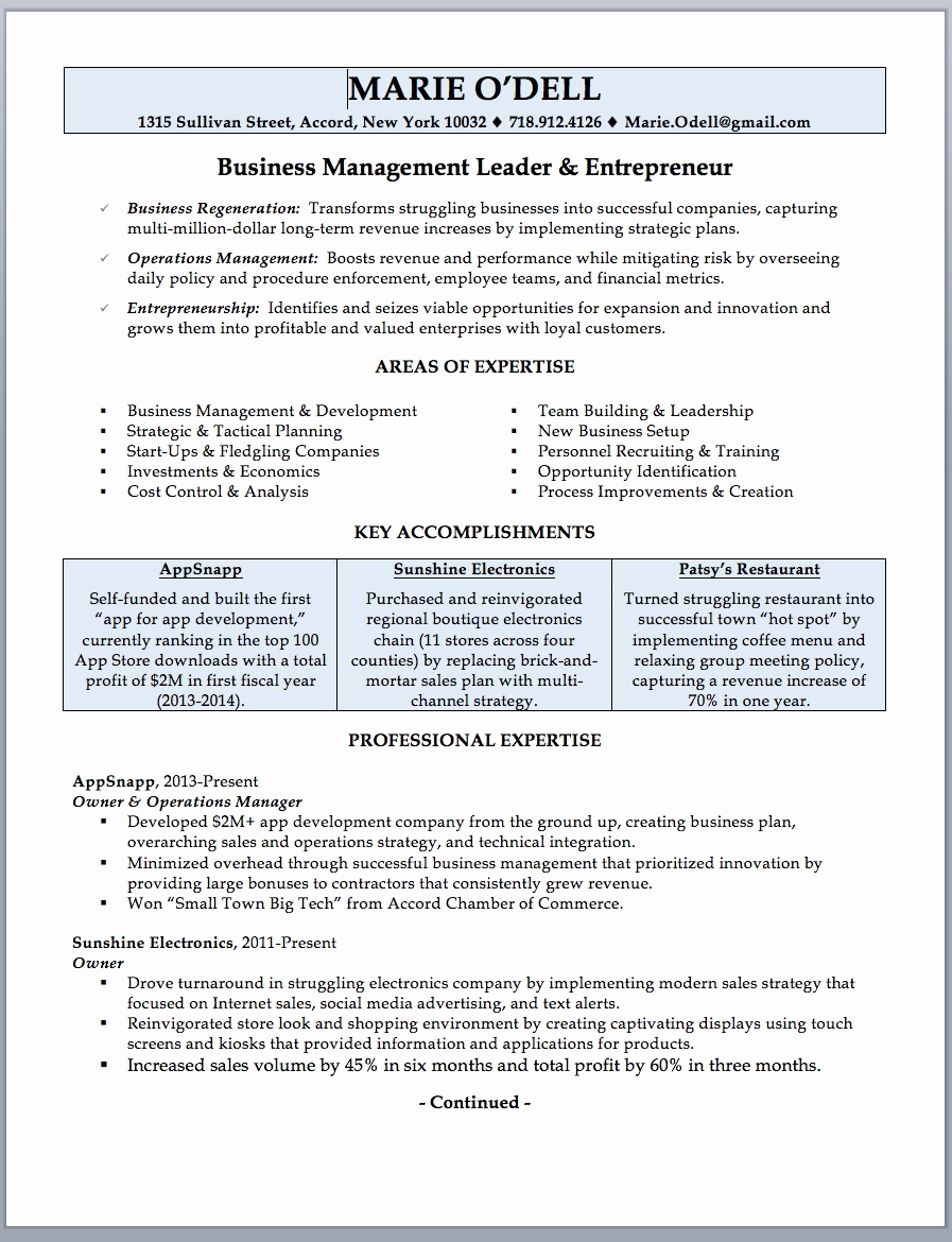 Small Business Owner Resume Unique Business Owner Resume Sample & Writing Guide