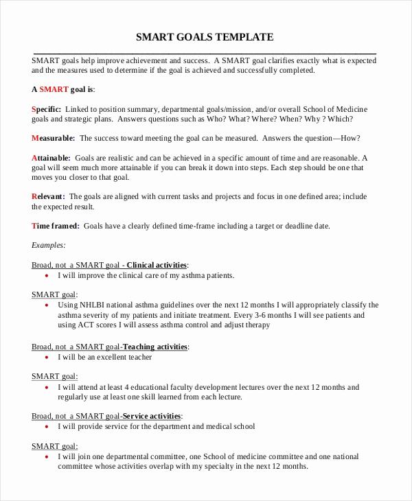 Smart Goals Examples for Work Elegant 11 Smart Goals Examples