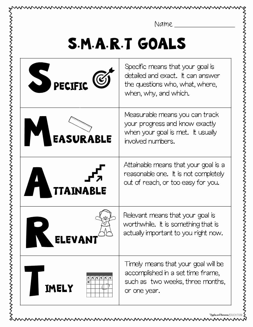 Smart Goals Examples for Work Unique Smart Goals for Kids Define What S M A R T Goals are and