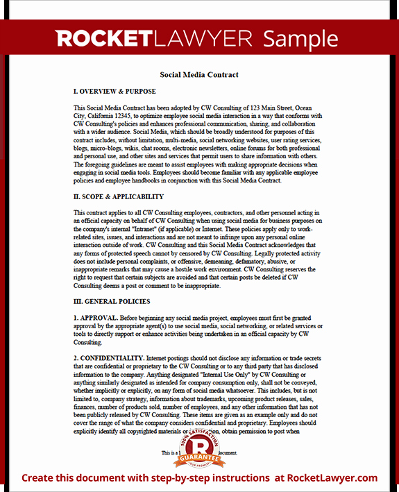Social Media Contract Template Awesome social Media Contract Pany social Media Contract for