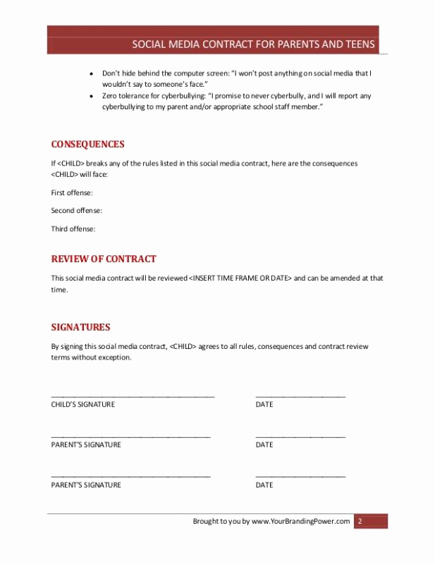 Social Media Contract Template Awesome social Media Contract Template