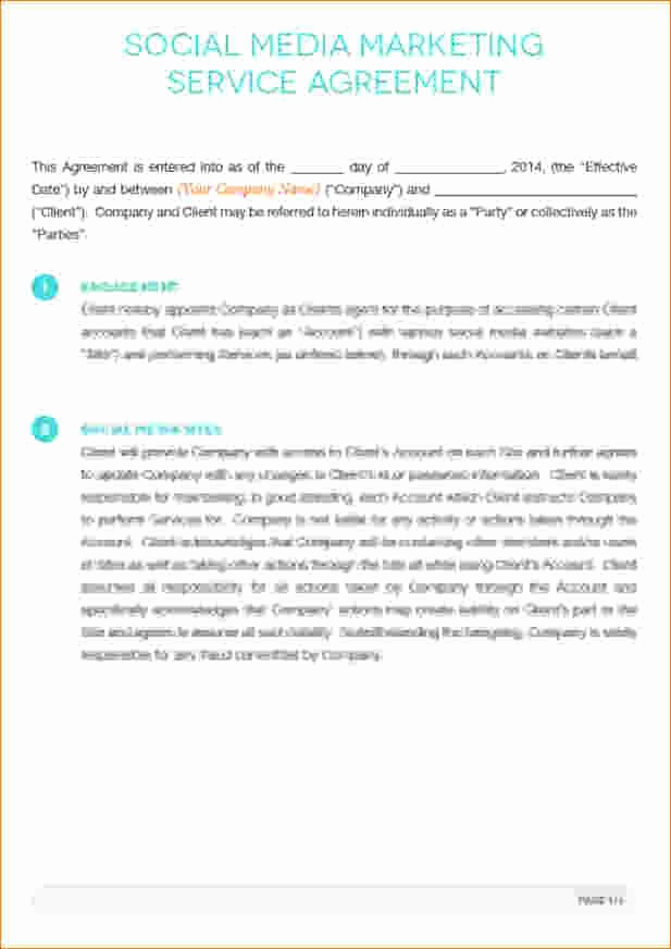 Social Media Contract Template Awesome social Media Marketing Contract Template Five Reasons You