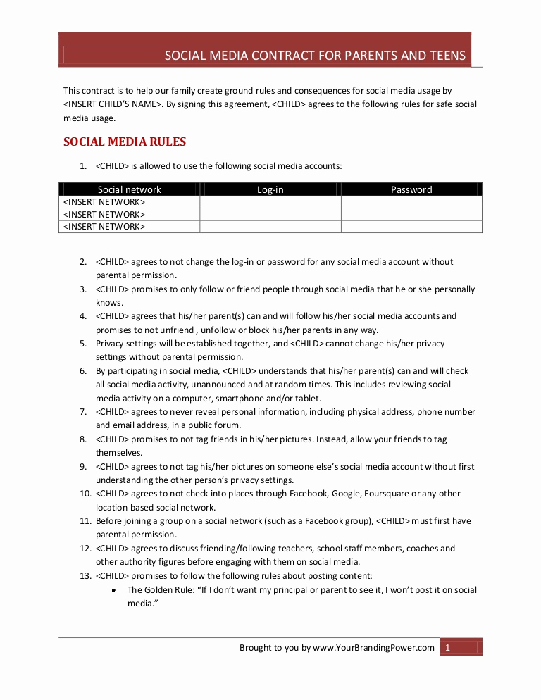 Social Media Contract Template Best Of social Media Contract for Parents and Teens