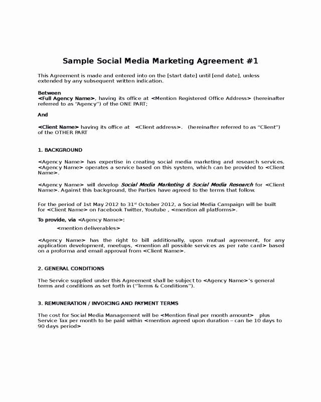Social Media Contract Template Elegant 2019 social Media Contract Template Fillable Printable