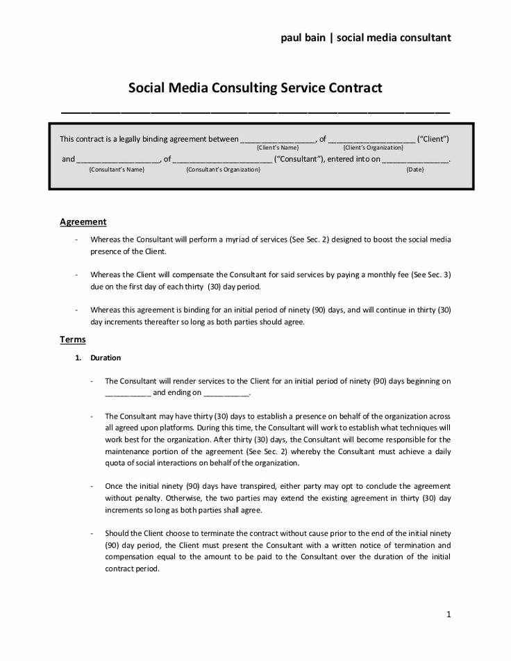 Social Media Contract Template Fresh social Media Consulting Services Contract
