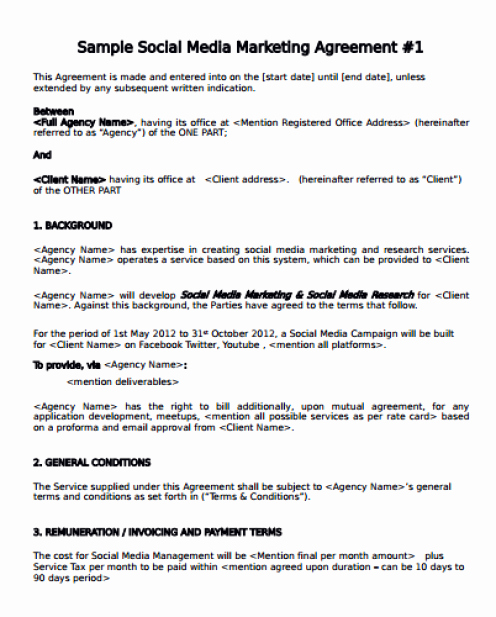 Social Media Contract Template Inspirational social Media Contract Templates Word Excel Samples