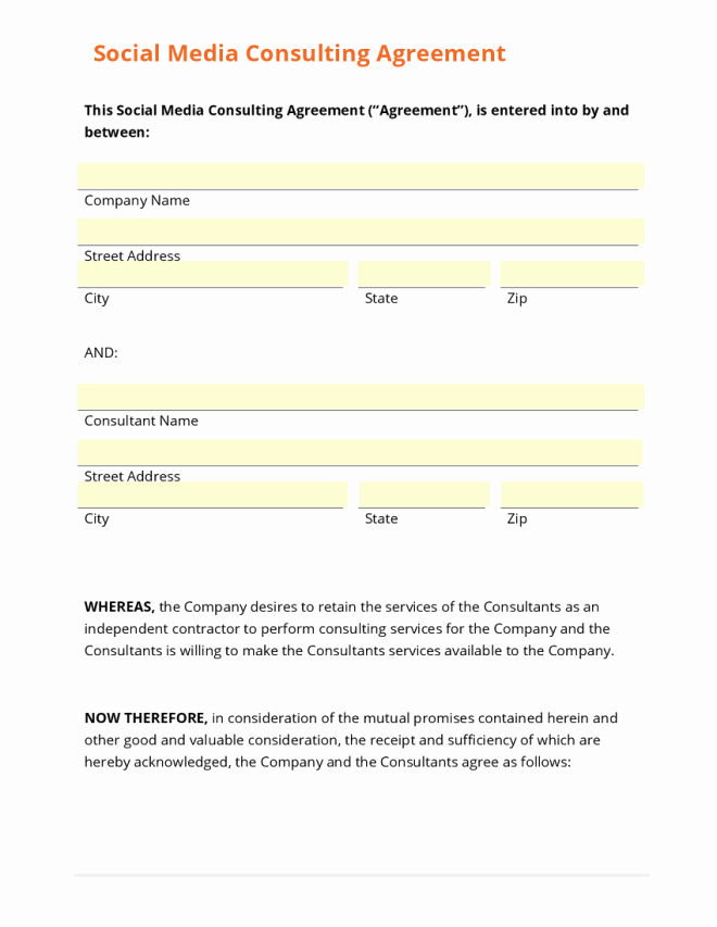 Social Media Contract Template Lovely 4 social Media Contract Templates Word Excel Templates