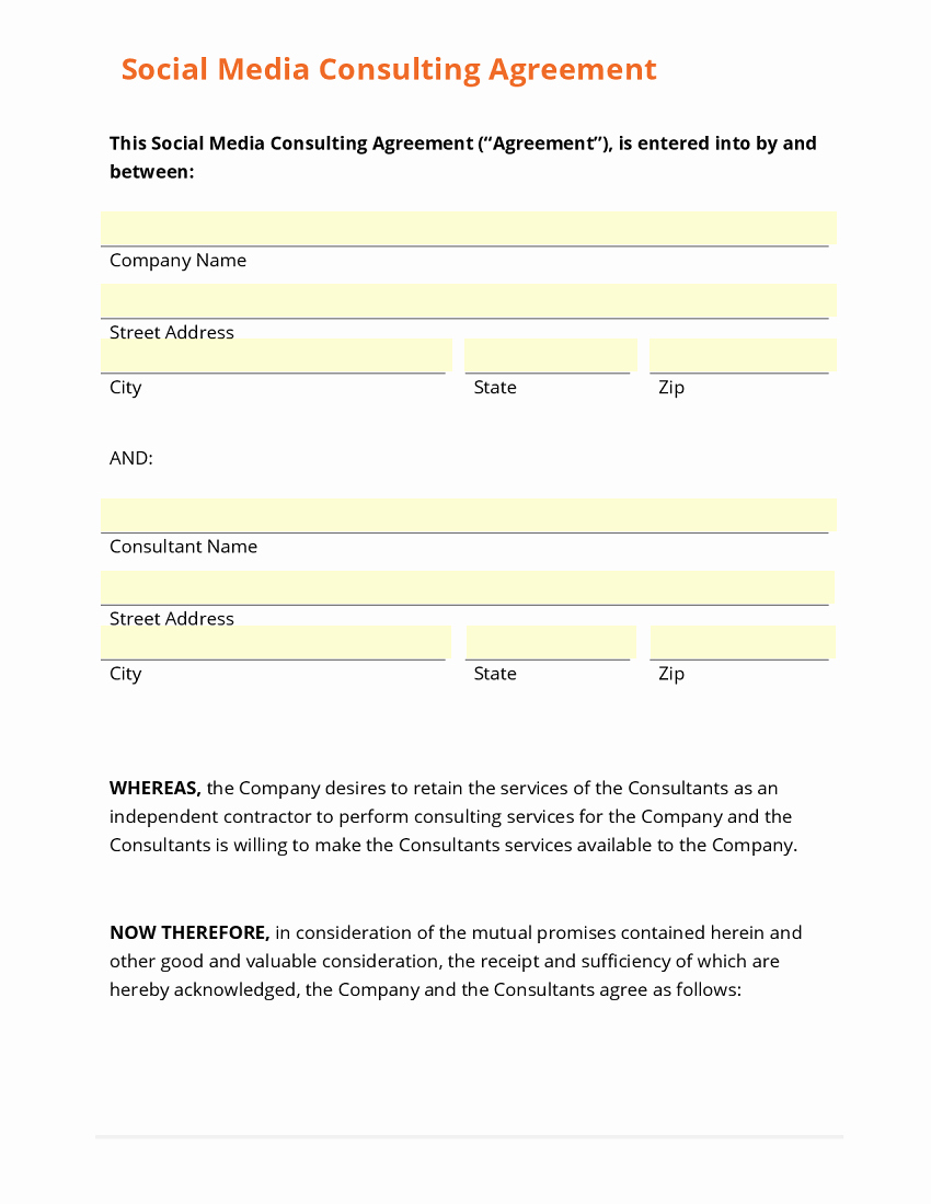 Social Media Contract Template New Business form Template Gallery