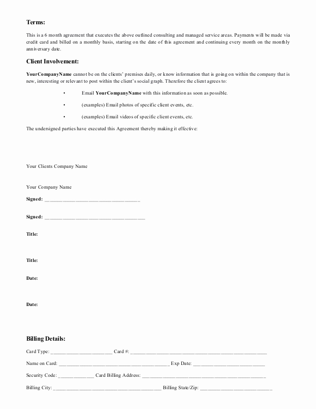 Social Media Contract Template New social Media Proposal