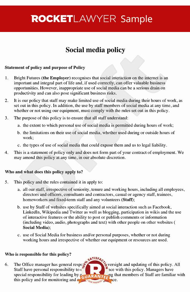 Social Media Contract Template Unique social Media Policy social Media Policy Template