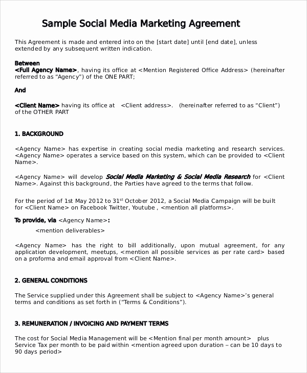 Social Media Management Contract Beautiful 13 Marketing Consulting Agreement Samples