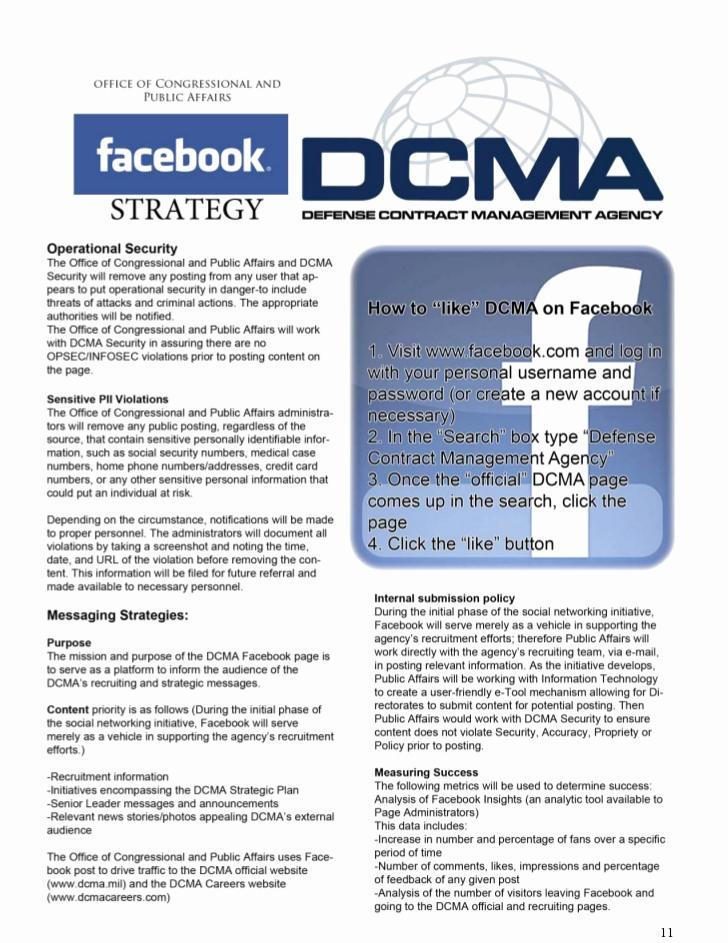 Social Media Management Contract Fresh Defense Contract Management Agency social Media Handbook