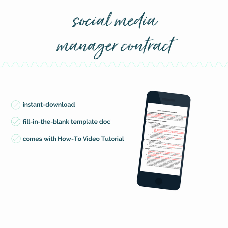 Social Media Management Contract Fresh Diy social Media Manager Contract Template