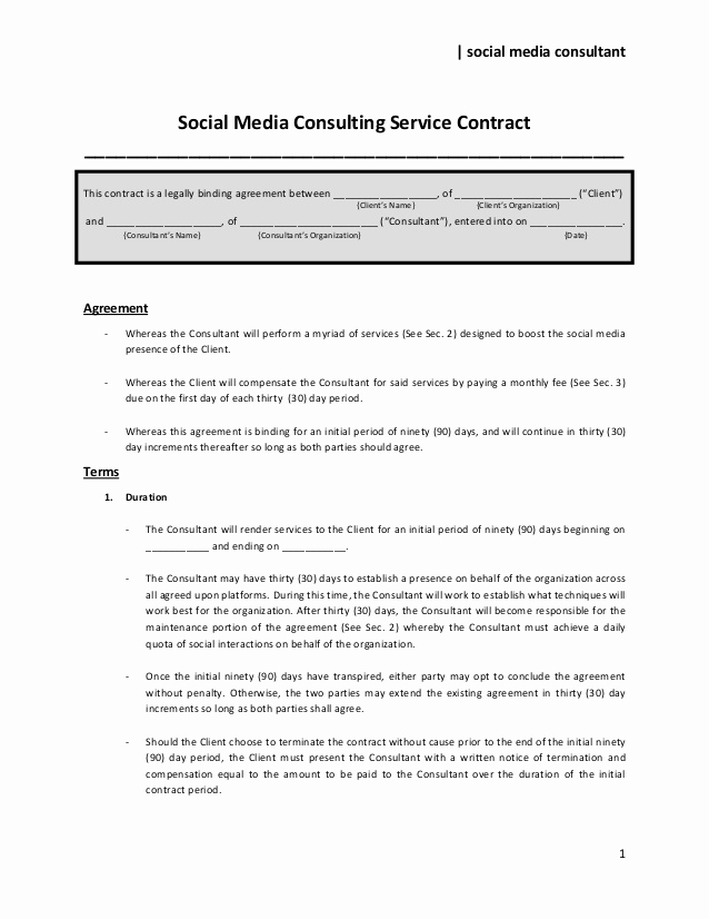 Social Media Management Contract Inspirational social Media Consulting Service Contract to