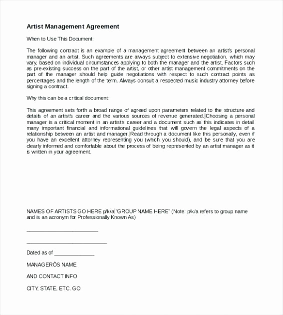 Social Media Management Contract Luxury social Media Management Contract Template Unique Artist