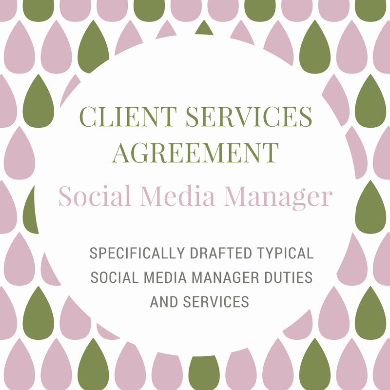 Social Media Management Contract New Client Services Agreement social Media Manager