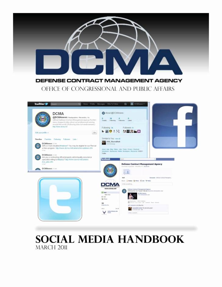 Social Media Management Contract New Defense Contract Management Agency social Media Handbook