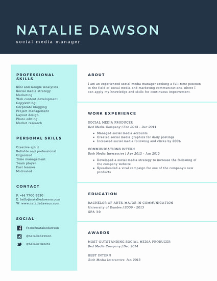 Social Media Manager Resumes Awesome Pale Turquoise social Media Manager Simple Resume