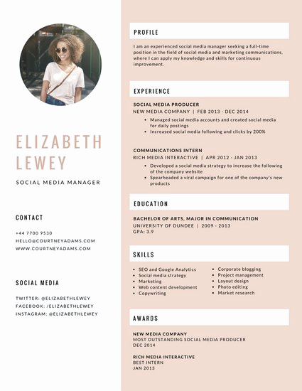 Social Media Manager Resumes Elegant Simple orange Logo Infographic Resume Templates by Canva
