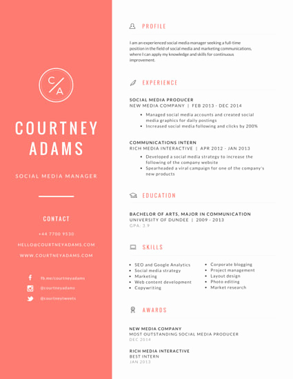 Social Media Manager Resumes Inspirational Bright social Media Manager Resume Templates by Canva