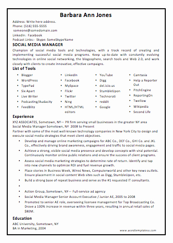 Social Media Manager Resumes Inspirational social Media Manager Resume