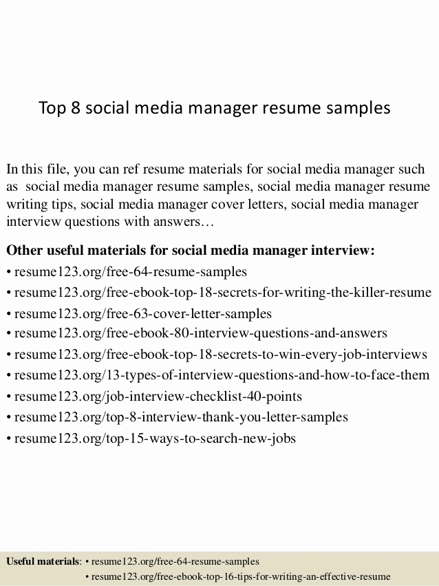Social Media Manager Resumes Luxury top 8 social Media Manager Resume Samples