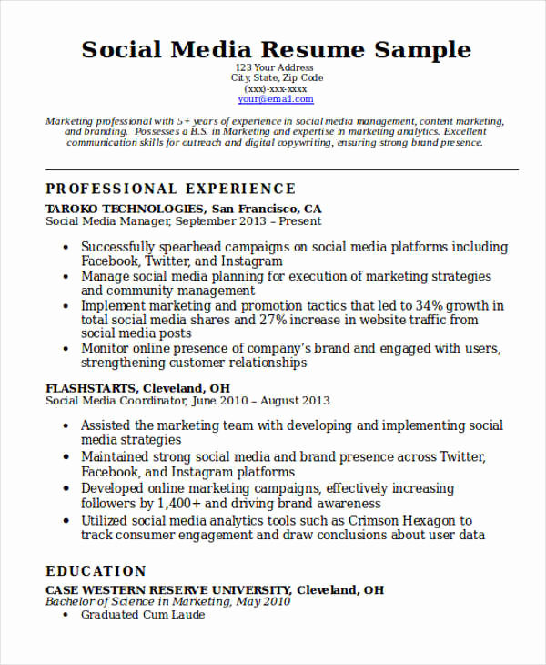 Social Media Manager Resumes New 7 social Media Resume Templates Pdf Doc